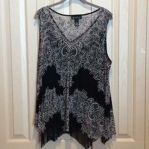 INC Dressy Sheer Tank w/Camisole Black & White XXL